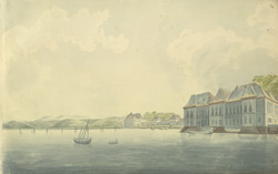 f.24   View of Panjim from the Mandovi River showing the Viceroy's palace and boat. ' Goa'.  Col. Johnson was at Goa in 1806.
